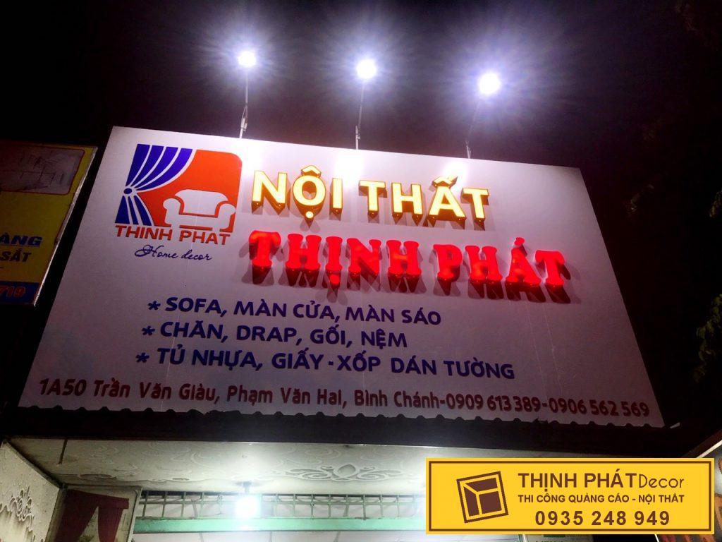 Thi công biển hiệu quảng cáo kết hợp chữ nổi mica đèn led